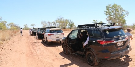 Procession of 4WD vehicles